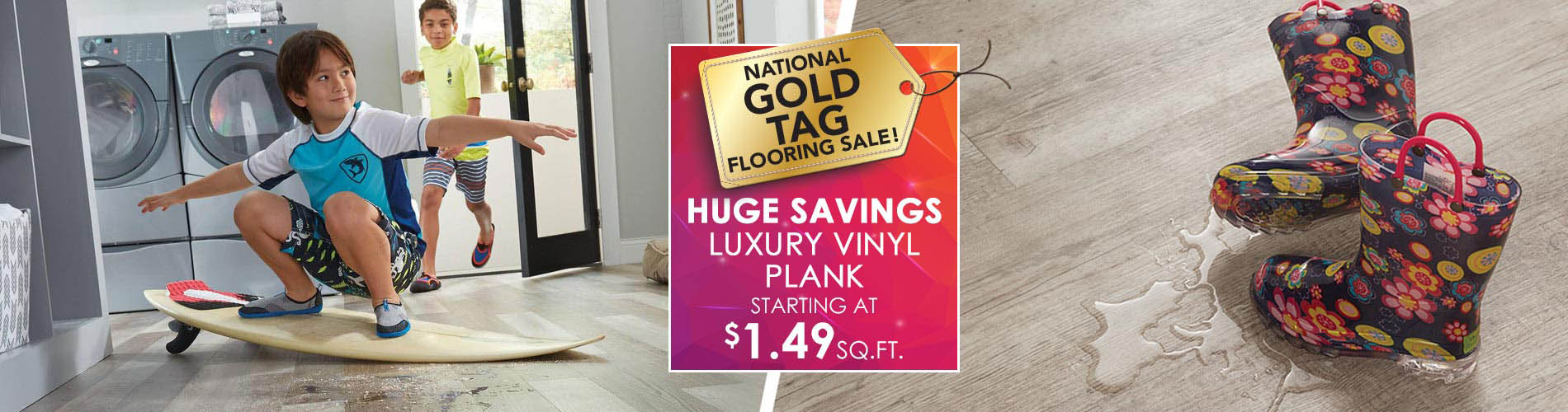 Luxury vinyl plank starting at $1.49 sq.ft.